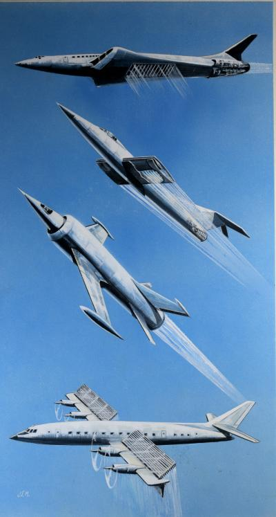Futuristic Airplanes Original Watercolor Advertising Art