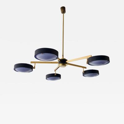G C M E Brass and Plexiglass Ceiling Lamp by G C M E