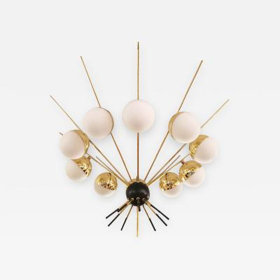 G C M E Large Brass Chandelier by GCME Italy 1960s
