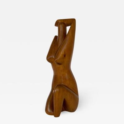 G Lynch Carved Solid Wood Nude Abstract Sculpture
