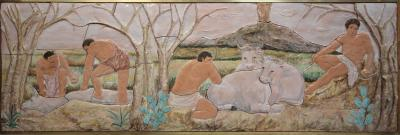 G Petralia Large decorative majolica fresco with antique pastoral scene Sicily 1970