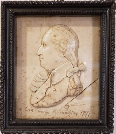 G Rouse General George Washington Wax Portrait Shadow Box Framed Display