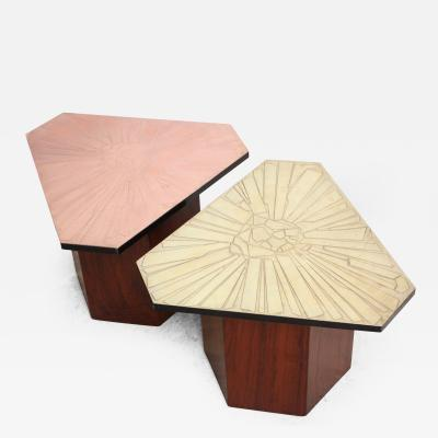 G Urso Pair of Italian Etched Copper and Brass Side Tables by G Urso