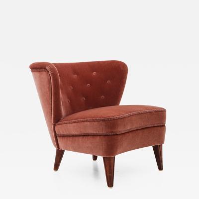 G sta Jonsson Swedish Lounge Chair in Dark Pink Velour by G sta Jonsson 1940s