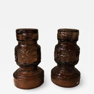 G te Augustsson Scandinavian mid century brutalist brown glass candlesticks for Ruda Glasbruk