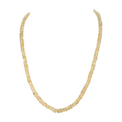 GENUINE NATURAL CITRINE FACETED BEADS NECKLACE