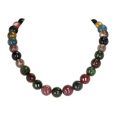 GENUINE NATURAL LARGE ROUND FACETED MULTI TOURMALINE BEADS NECKLACE 14K GOLD