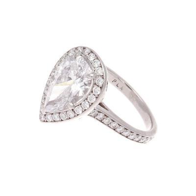 GIA 2 31 Carat Pear Shaped Diamond Platinum Engagement Ring