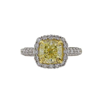 GIA 3 01 ct Natural Fancy Light Yellow Cushion Cut Diamond Engagement Ring