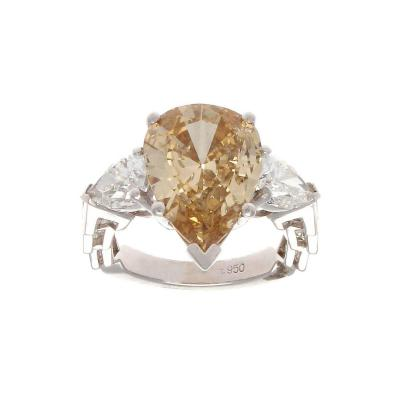 GIA 3 72 Carat Fancy Colored Pear Shaped Diamond Platinum Engagement Ring
