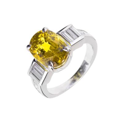 GIA 6 08 Carat Natural Oval Yellow Sapphire Diamond Platinum Engagement Ring
