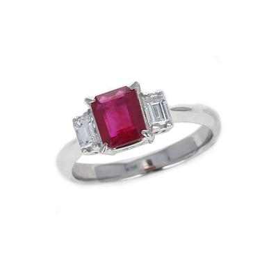 GIA CERTIFIED 1 25 CARAT EMERALD CUT BURMA RUBY THREE STONE DIAMOND RING
