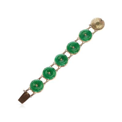 GIA CERTIFIED NATURAL NO HEAT JADE BRACELET 14 KARAT ROSE GOLD