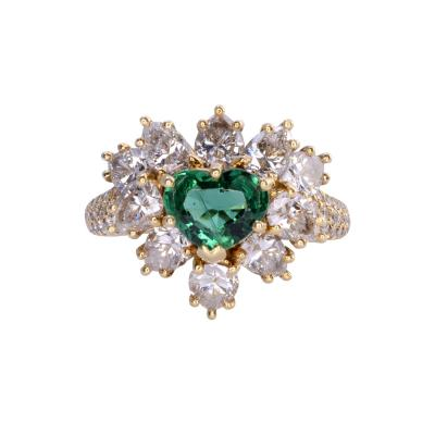 GIA Certified 0 90 Carat Emerald and Diamond 18K Gold Ring