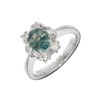 GIA Certified 1 54 Carat Natural Blue Green Sapphire Diamond Engagement Ring