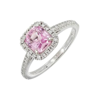 GIA Certified 1 54 Carat Pink Sapphire Halo Diamond Platinum Engagement Ring