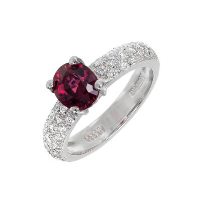 GIA Certified 1 59 Carat Red Spinel Diamond Platinum Engagement Ring