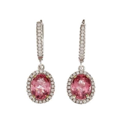 GIA Certified 2 58 Carat Pink Tourmaline Diamond Halo Gold Dangle Earrings