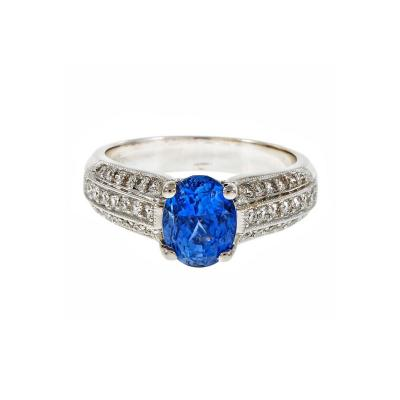 GIA Certified 2 64 Carat Oval Sapphire Diamond Gold Ring