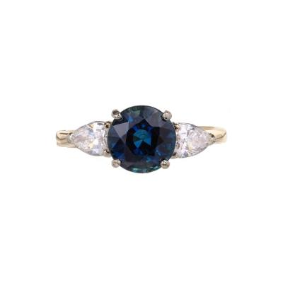 GIA Certified 2 88 Carat Round Sapphire Pear Diamond Gold Engagement Ring