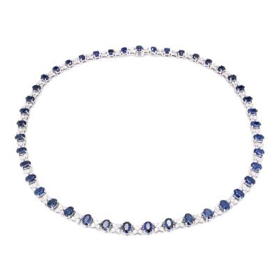 GIA Certified 23 45 Carat Sapphire Diamond Gold Necklace