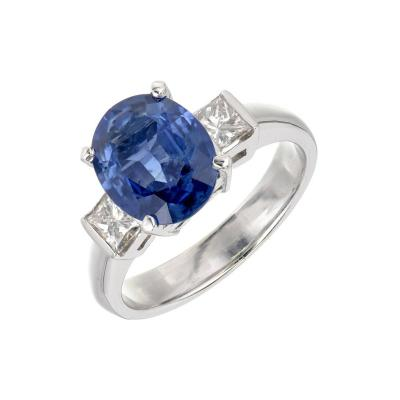 GIA Certified 3 04 Carat Oval Sapphire Diamond Three Stone Gold Engagement Ring