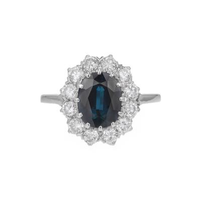 GIA Certified 3 07 Carat Blue Sapphire Diamond Halo Gold Engagement Ring