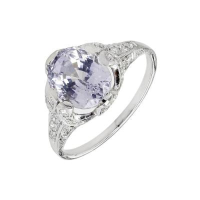 GIA Certified 3 45 Carat Violet Sapphire Diamond Platinum Engagement Ring