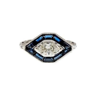 GIA Certified 52 Carat Diamond Sapphire Halo 14k White Gold Engagement