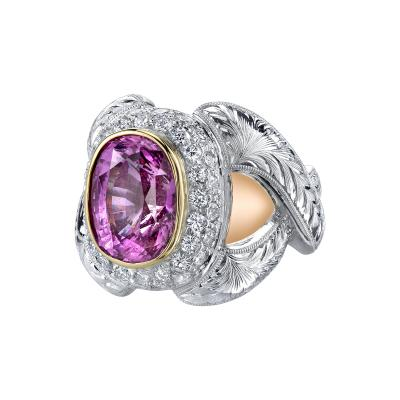 GIA Certified 7 08 Carat Pink Sapphire And Diamond Ring
