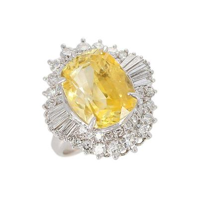 GIA Certified 8 18 Carat Oval No Heat Ceylon Yellow Sapphire and Diamond Ring