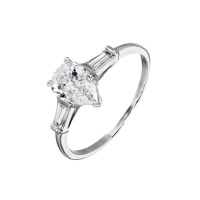 GIA Certified 93 Carat Pear Shape Diamond Three Stone Platinum Engagement Ring