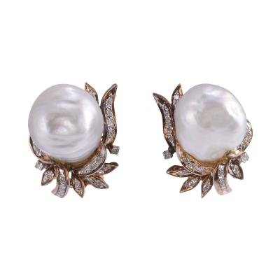 GIA Certified Baroque South Seas Pearl Clip Earrings