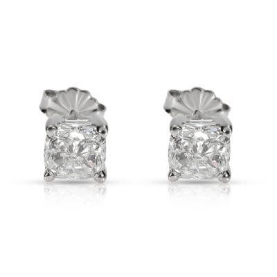 GIA Certified Cushion Diamond Stud Earring in 14K White Gold E VVS2 VS2 2 03 CTW