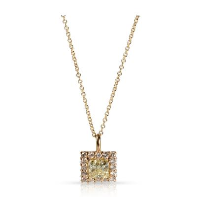 GIA Certified Diamond Necklace in 14K Yellow Gold W X VS2 1 38 CTW