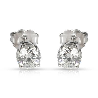 GIA Certified Diamond Stud Earring in 14K White Gold G H VVS1VVS2 1 13 CTW