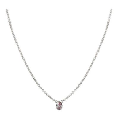 GIA Certified Fancy Intense Pink Pear Shape Bezel Necklace I1 clarity 0 17 Ct