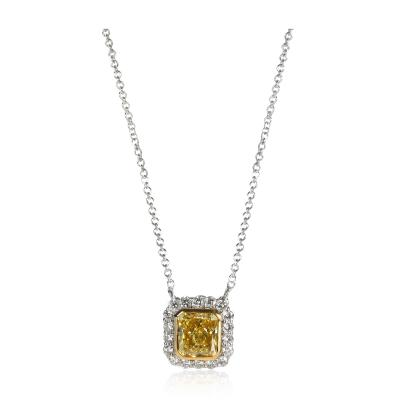 GIA Certified Fancy Vivid Yellow Diamond Necklace in 18K White Gold VS2 1 72 CTW