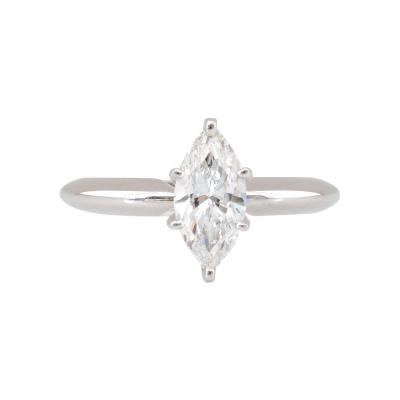 GIA Certified Internally Flawless 1 Carat Marquise Diamond Solitaire Ring