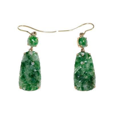 GIA Certified Jadeite Jade Carved Dangle Earrings