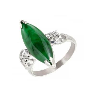 GIA Certified Marquise Natural Jadeite Jade Diamond Gold Cocktail Ring