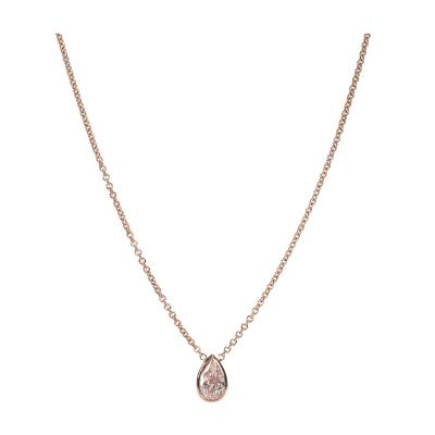 GIA Certified Natural Fancy Pink Diamond Necklace in 14KT Pink Gold VS2 0 86 CTW