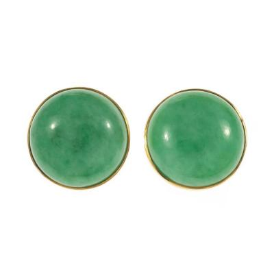 GIA Certified Natural Round Jadeite Jade Round Yellow Gold Earrings