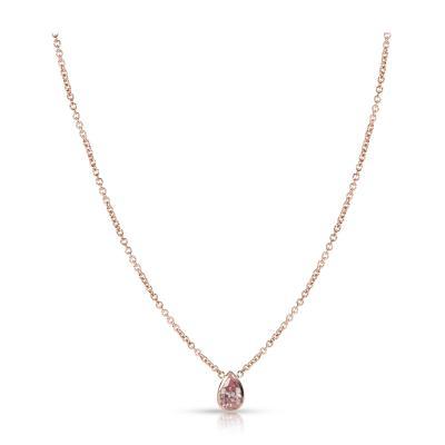 GIA Certified Pear Shape Fancy Intense Pink Diamond Bezel Necklace VS1 0 51 CT