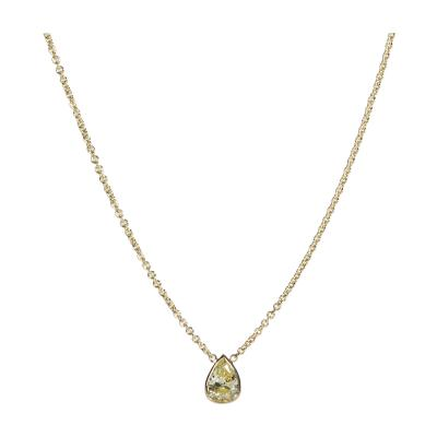 GIA Certified Pear Shape Fancy Intense Yellow VS2 Diamond Necklace 0 75 Ct
