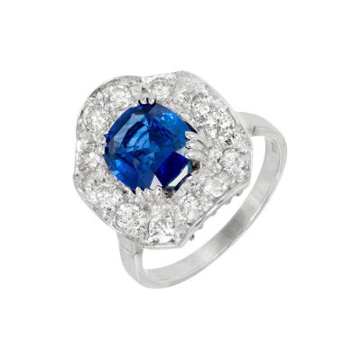 GIA Certified Sapphire Diamond Halo Wave Gold Cocktail Engagement Ring