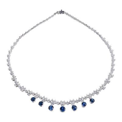 GIA Certified Sapphire Diamond Hinged Platinum Necklace