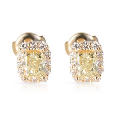 GIA Fancy Yellow Diamond Stud Earrings in 14K Yellow Gold 1 85 ctw FY VS1 VS2