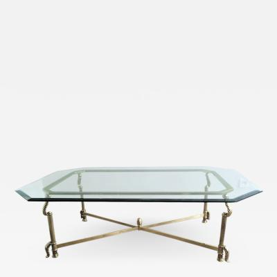 GILDED BRASS AND BRONZE COFFEE TABLE WITH OCTAGONAL BEVELED GLASS