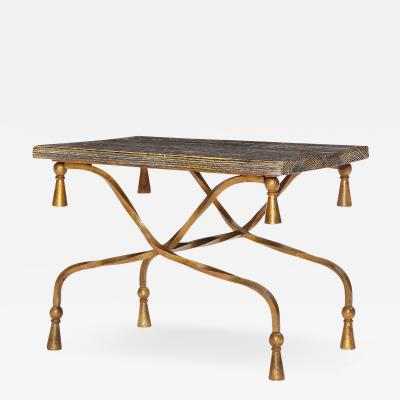 GILDED WROUGHT IRON ROPE TABLE